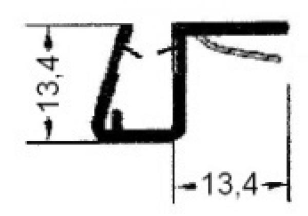 Universal Anschlagprofil 2000 mm lang, für 6 + 8 mm Glasstärke (12,48 EUR / Meter)