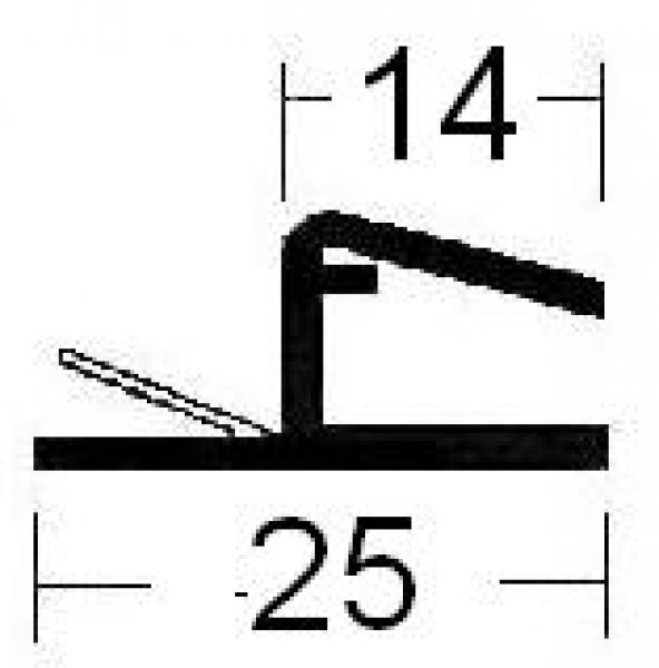Universal Anschlagprofil 2000 mm lang, für 10 + 12 mm Glasstärke (12,48 EUR / Meter)