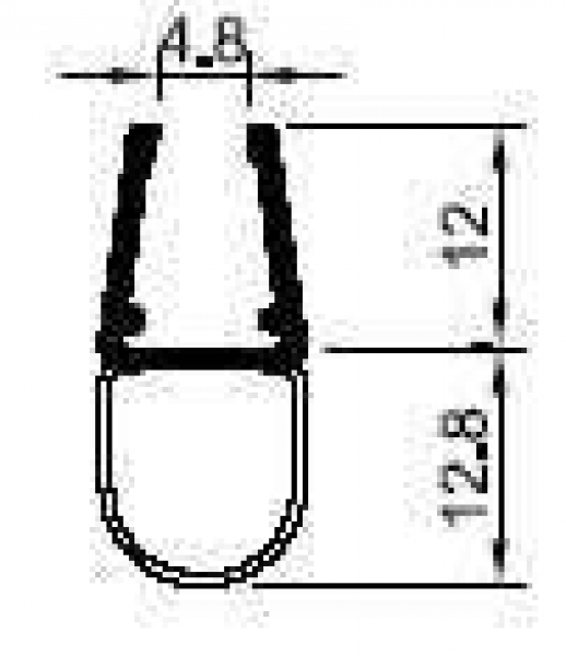 Universal Balgdichtprofil 2000 mm lang, für 6 + 8 mm Glasstärke (12,48 EUR / Meter)